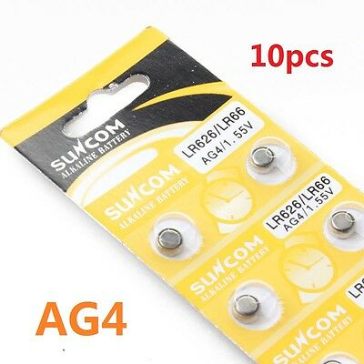 10 PCS  AG4 SG4 LR626 LR66 1.55V Alkaline Watches Button coin Cell Battery  New