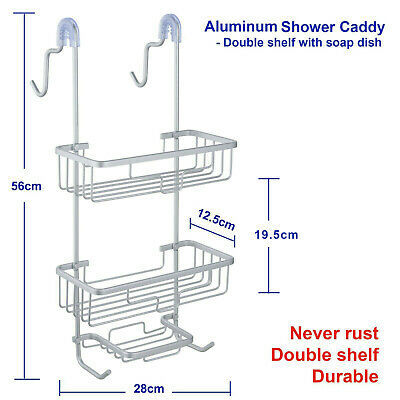 Aluminum Shower Caddy, 2 Tiers with soap dish, Never Rust, Stainless, Rustproof