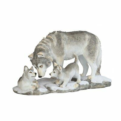 10 Inch Wolves in Snow Nature Wildlife Animal Statue Collectible Wild Wolf Pups