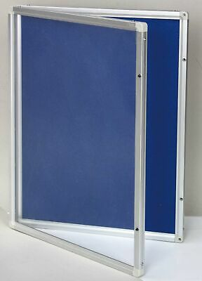 Grey 450X600Mm Lockable Commercial Notice Pin Board Showcase With Clear Door