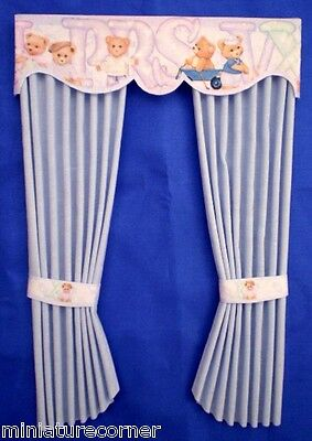 Dolls House Curtains 1/12th Nursery Blue Matching wallpaper available 5 in #131