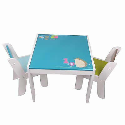 Labebe Hedgehog Wooden Table and 2 Chairs Set Children Toddler Boy Furniture Set