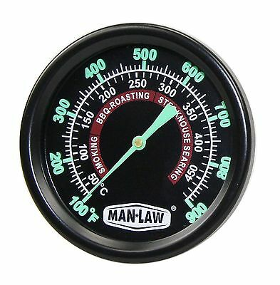 MAN LAW BBQ  Series Grill/Smoker Thermometer Gauge with Glow in the Dark Dial