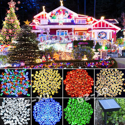 50 100 200 LED Solar Powered Fairy String Lights Garden Party Christmas Outdoor