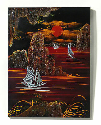 Inlaid Mother of Pearl Lacquered Asian Artwork