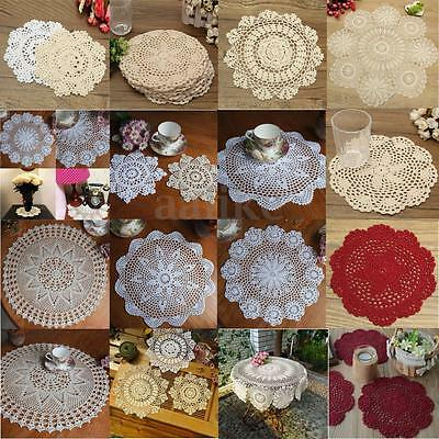 "16-27"" Hand Crocheted Cotton Yarn Round Lace Doily Placemat Flower Coaster Craft"