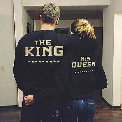 THE King and HIS Queen Back Print Couple Matching T-shirt Pullover Sweatshirts