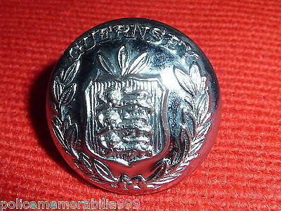 Obsolete Chrome Guernsey Police Uniform Buttons with Shield and Laural Leaf CoA