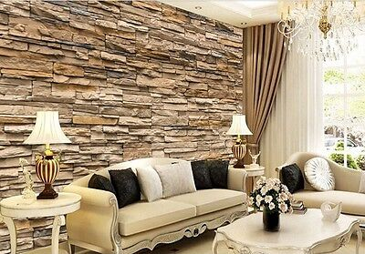 3D Wallpaper Bedroom Living Mural Roll Modern Faux Brick Stone Wall Background
