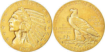 [#504343] United States, Indian Head, $5, 1909, Denver, Gold, KM:129