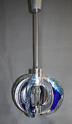 UNUSUAL RARE SHAPED 60s CHANDELIER PENDANT LIGHT ART GLASS-MAZZEGA /MURANO
