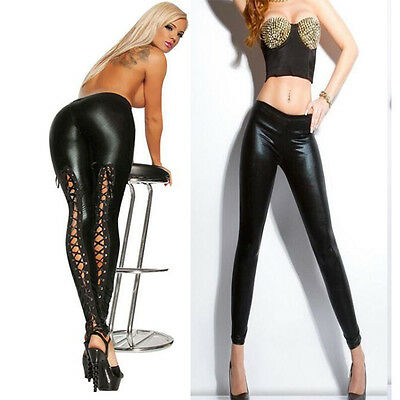 Women Lace Up Back Leggings Sexy Black Faux Leather Fetish Punk Goth Clubwear