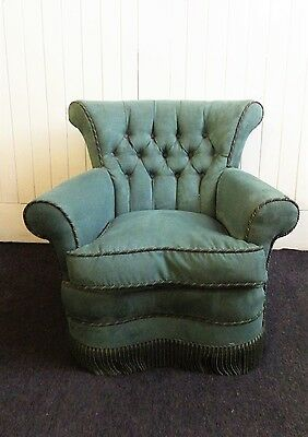 Vintage style button back wing armchair - arm chair