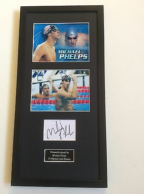 Michael Phelps Swimming Hand Signed Autograph Mounted Frame