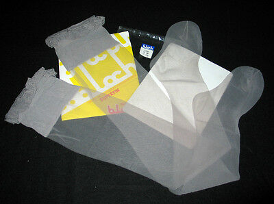 """BAS STAY-UP T 4 NYLON VOILE """"BLOCH"""" GRIS CLAIR SEXY SATINé CHARME TOP DENTELLE"""