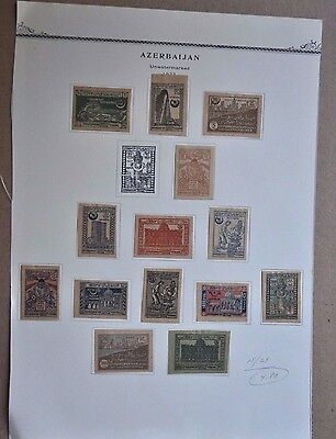Mint Hinged Azerbaijan early stamps lot, collection, Scott 15-17, 19-29