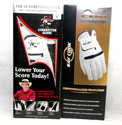 New DAVID LEADBETTER CORRECT GRIP + RAY COOK Two LLH M/LG (2) LADIES Golf GLOVES