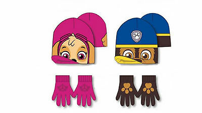 Paw Patrol Hat and Gloves Set, Chase or Skye Design 3 - 7 Years