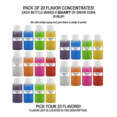 Shaved Ice Sno Cone Flavor Syrup Mix Concentrate Snow Kone Mix  ***20 PACK** 1oz