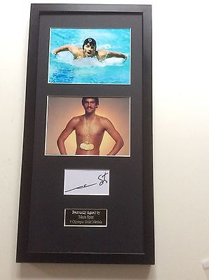 Mark Spitz Swimming Hand Signed Autograph Mounted Frame