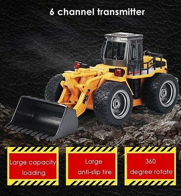 HUINA 2.4G 6CH RC Simulation Alloy Truck Construction Toy Gift Video Description