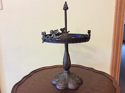 Antique CAST IRON TABLE LAMP wi Cherubian Angels - Art Nouveau - RARE