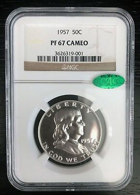 1957 Franklin Proof Silver Half Dollar NGC PF67 CAMEO CAC Uncirculated