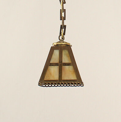 Antique Mission Brass Lantern with Amber Slag Glass (American circa 1910)