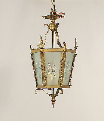 Brass Lantern w/ 6 Panels of Sunburst Etched Frosted Glass