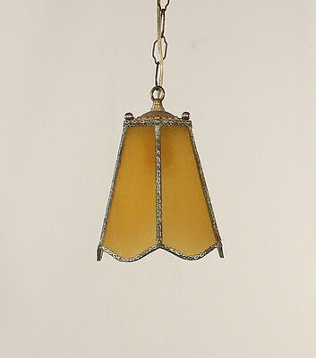 Antique 6 Panel Amber Glass Lantern 1920's