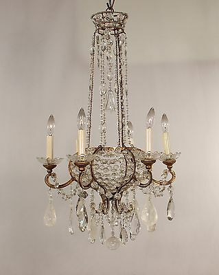 Antique 10 Light Italian Gold Leaf Iron & Rock Crystal Chandelier circa 1960's