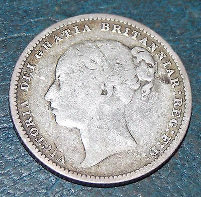 1879 Queen Victoria Sterling Silver Shilling Coin Very Nice Condition