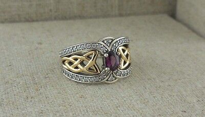 Sterling Silver & 10K Celtic Knot Ring with Rhodolite & White Topaz KEITH JACK