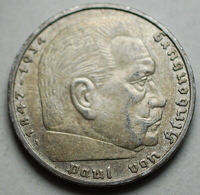 1938 A NAZI HINDENBURG 5 Mark .900 SILVER COIN WW2 GERMANY 5 ReichsMark