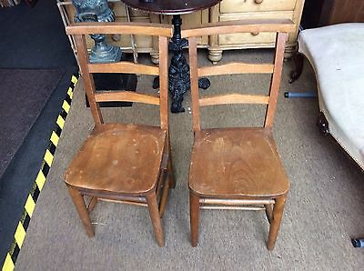 ANTIQUE chapel chair elm seats original straight backs good order