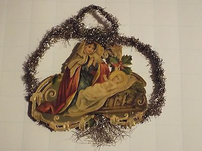 Antique Victorian Die Cut Christmas ANGEL with Tinsel/Garland Ornament
