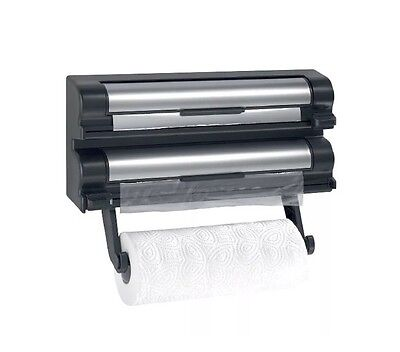 3 in 1 Kitchen Roll Foil Cling Film Dispenser Wall Mountable NEW