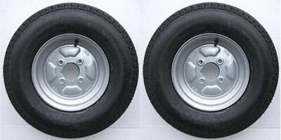 """Pair of Trailer Wheels 500 x 10"""" 4 Ply 4"""" PCD with Grease Nipple cut out 355Kg"""