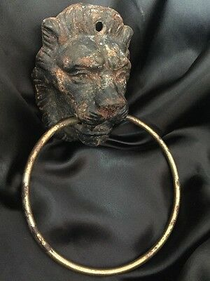 Antique/Vintage Brass Door Knocker Lion Head Bust Medieval Hardware Gothic