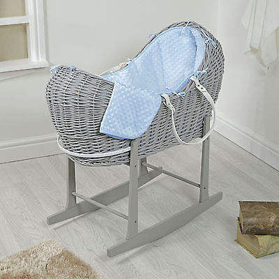 4Baby Grey Wicker / Blue Dimple Padded Snooze Pod Moses Basket & Rocking Stand