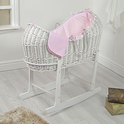 4Baby White Wicker / Pink Waffle Padded Snooze Pod Moses Basket & Rocking Stand