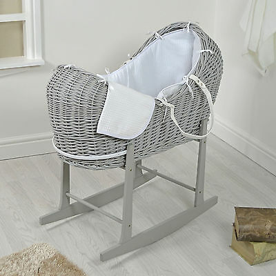 4Baby Grey Wicker / White Waffle Padded Noah Pod Moses Basket & Rocking Stand