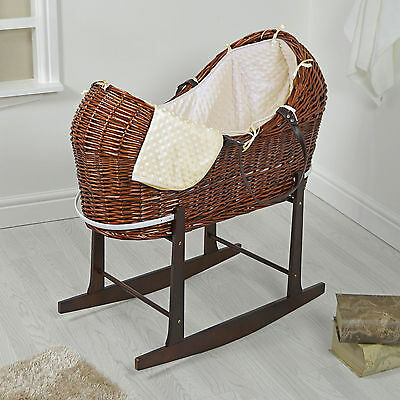 4Baby Dark Wicker / Cream Dimple Padded Snooze Pod Moses Basket & Rocking Stand