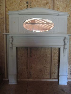 vintage / antique wooden  fireplace mantle from historic cincinnati ohio walnut