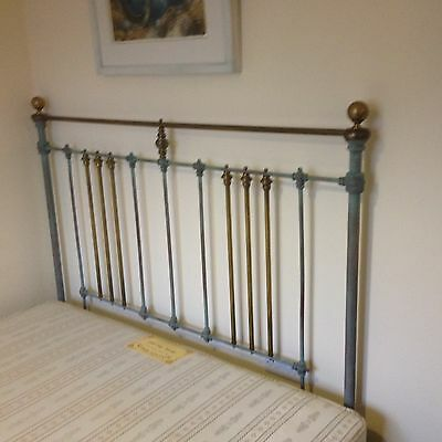 Antique Victorian Iron and Brass King Sized Bed with spung base