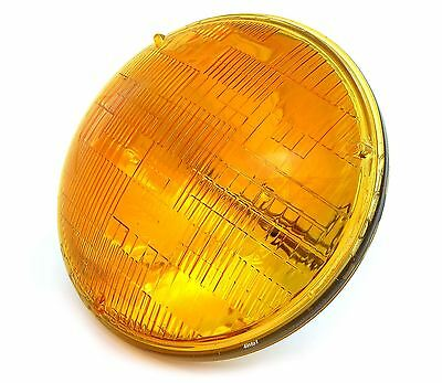 "7"" Sealed Beam Motorcycle Headlight - Amber - Vintage Cafe Racer Bobber Chopper"
