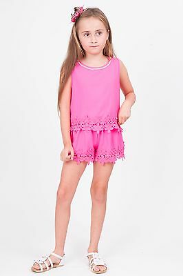 Girls BNWT Bling diamante Pink shorts & Top 10-(8-9 Years) Stylish Outfit