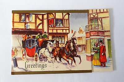 VINTAGE 1950s POP UP 3D CHRISTMAS CARD - GREETINGS WITH CARRIAGE AND HORSES