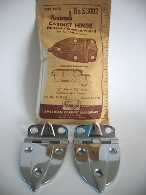 "Vintage NOS CHROME Steel Cabinet Door Hinges 3/8"" Offset Boat Trailer Amerock"