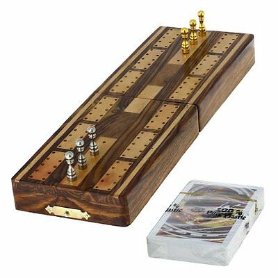 Unique Game Cribbage Board and Pegs Set 3 Track Cards With Storage